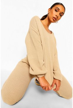 Stone beige Purl Knitted Tracksuit