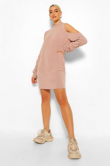 Stone beige Ruched Sleeve Cold Shoulder Sweater Dress