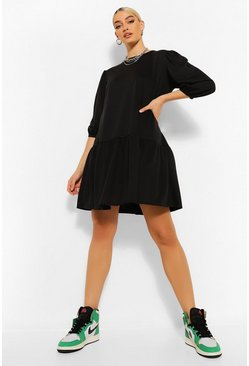 Black Puff Sleeve Drop Hem Sweater Dress