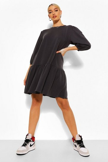 Charcoal grey Puff Sleeve Drop Hem Sweater Dress