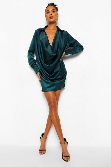 Teal green Extreme Cowl Satin Shirt Dress