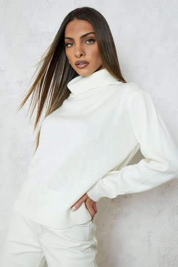 Cream white Roll Neck Jumper