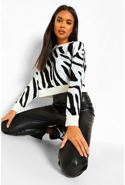 White Zebra Crop Jumper