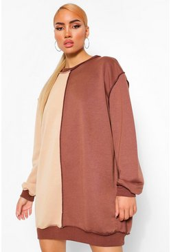 Chocolate Colour Block Exposed Seam Sweatshirt Dress