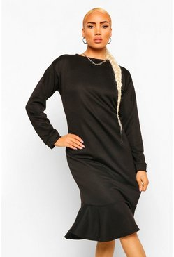 Black Frill Hem Midi Sweater Dress