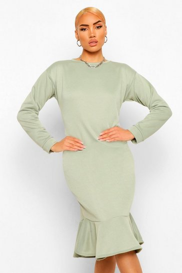 Sage green Frill Hem Midi Sweater Dress