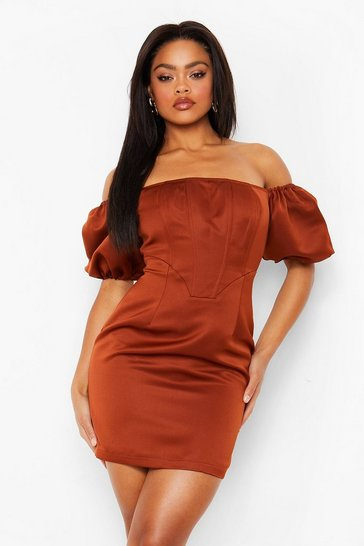 Chocolate brown Corset Detail Puff Sleeve Mini Dress