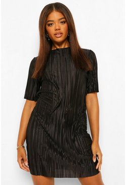 Black Plisse T Shirt Dress