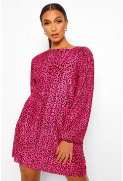Pink Animal Printed Plisse Puff Sleeve Shift Dress