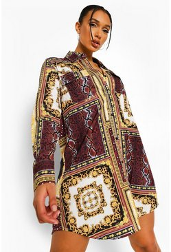 Chocolate brown Mixed Chain Print Shirt Dress