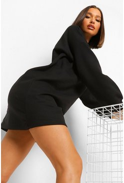 Black Roll Neck Blouson Sleeve Sweater Dress