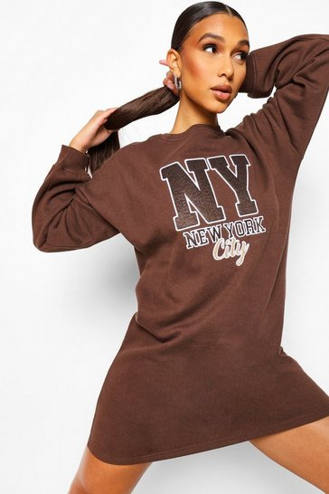 Chocolate brown Applique Oversized Sweater Dress
