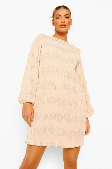Champagne beige Plisse Oversized Shift Dress