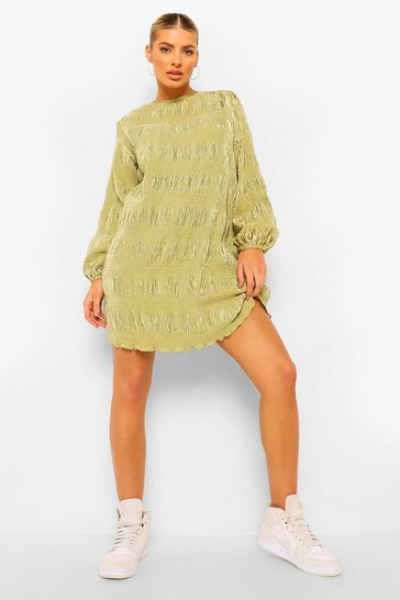 Olive green Plisse Oversized Shift Dress