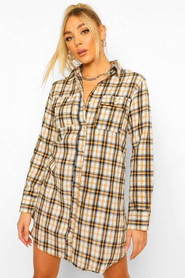 Cream white Check Shirt Dress