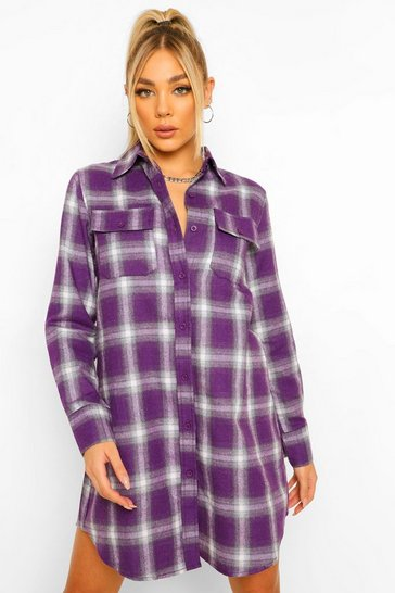 Purple Check Shirt Dress