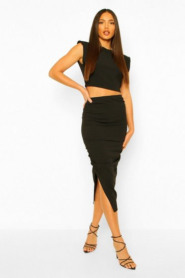 Black Shoulder Pad T Shirt And Split Midi Skirt Co ord