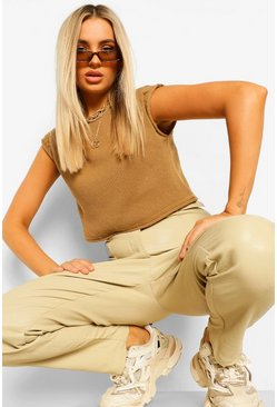 Camel beige Soft Knit Cropped Knitted Tank