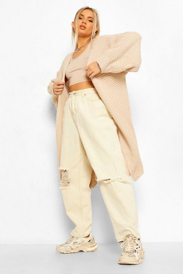Stone beige Honeycomb Belted Maxi Cardigan