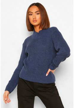 Navy Knitted Marl High Neck Jumper