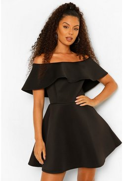 Bonded Scuba Off Shoulder Frill Skater, Black nero