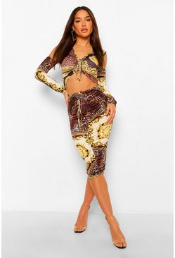 Chocolate brown Chain Print Ruched Detail Set
