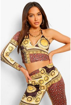 Chocolate Chain Print One Shoulder Crop