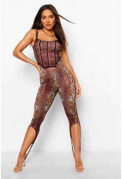 Chocolate Snake Print Corset Crop