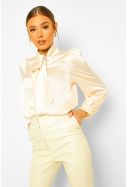 Satin Pussybow Volume Sleeve Shirt , Cream bianco