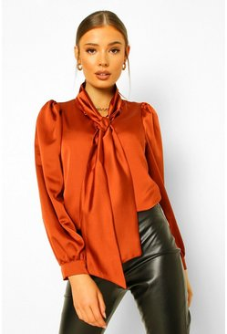 Satin Pussybow Volume Sleeve Shirt , Rust arancio