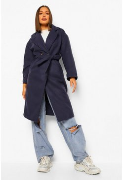 Navy Double Breasted Belted Wool Look Coat