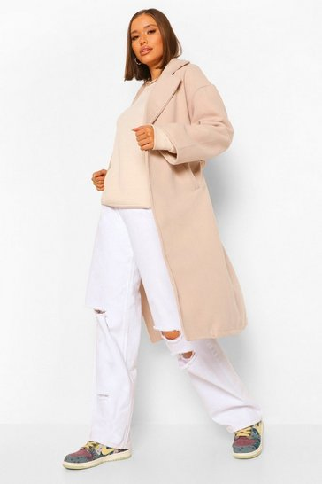 Stone beige Double Breasted Belted Wool Look Coat