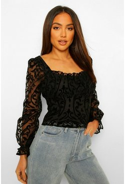 Black Flocked Organza Ruffle Top