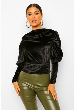 Black Velvet Puff Sleeve Shoulder Pad Top