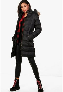 Black Longline Hooded Faux Fur Trim Puffer Jacket