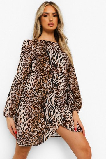Tan brown Mixed Animal Balloon Sleeve Wrap Front Shift Dress