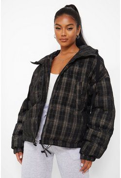 Black Velvet Check Puffer Jacket