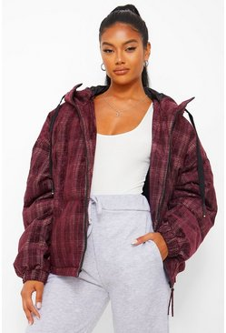 Wine red Velvet Check Puffer Jacket