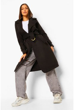 Black Buckle Detail Belted Wool Look Coat