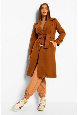Camel beige Buckle Detail Belted Wool Look Coat