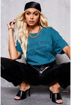 Teal green Vintage Style Oversized T-Shirt