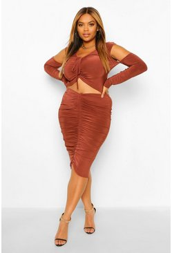 Brown Plus Size Ruched Front Set