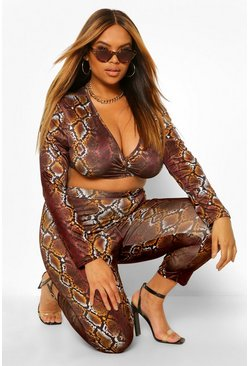 Brown Plus Snake Print Leggings
