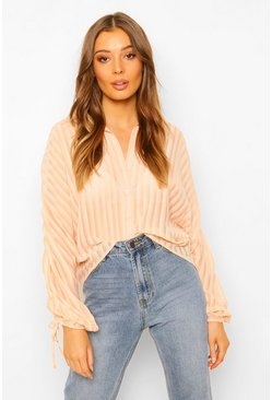 Blush pink Sheer Stripe Ruched Sleeve Shirt