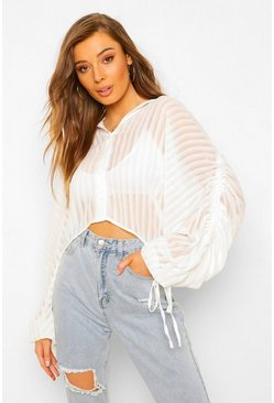 Ivory white Sheer Stripe Ruched Sleeve Shirt