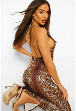 Chocolate Snake Print Open Back Bodysuit