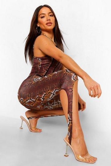 Chocolate brown Snake Print Stirrup Leggings