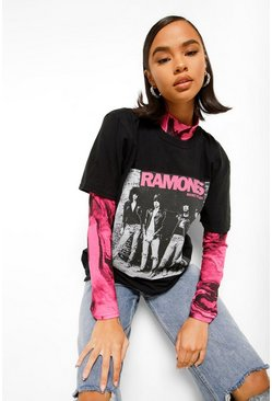 Black Ramones Front and Back License Print T-Shirt