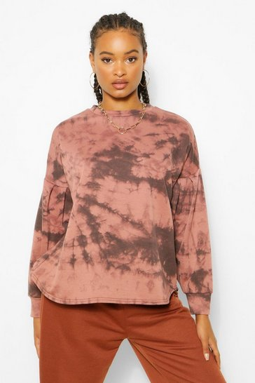 Chocolate brown Brown Tie Dye Oversized Sleeve Sweat