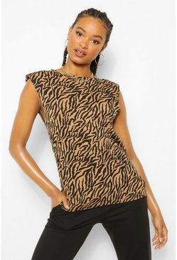 Black Zebra Print Shoulder Pad T-Shirt